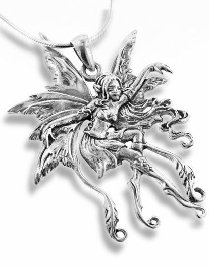 Sterling Silver Amy Brown Vines Fairy Faerie Pendant with 18