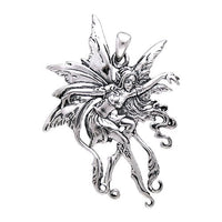 "Sterling Silver Amy Brown Vines Fairy Faerie Pendant with 18"" Necklace - Silver Insanity"