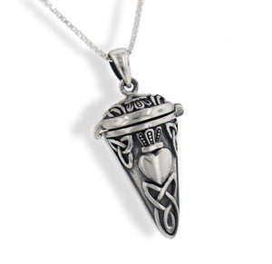 Celtic Knot Heart Sterling Silver Pendulum Box Necklace - Silver Insanity