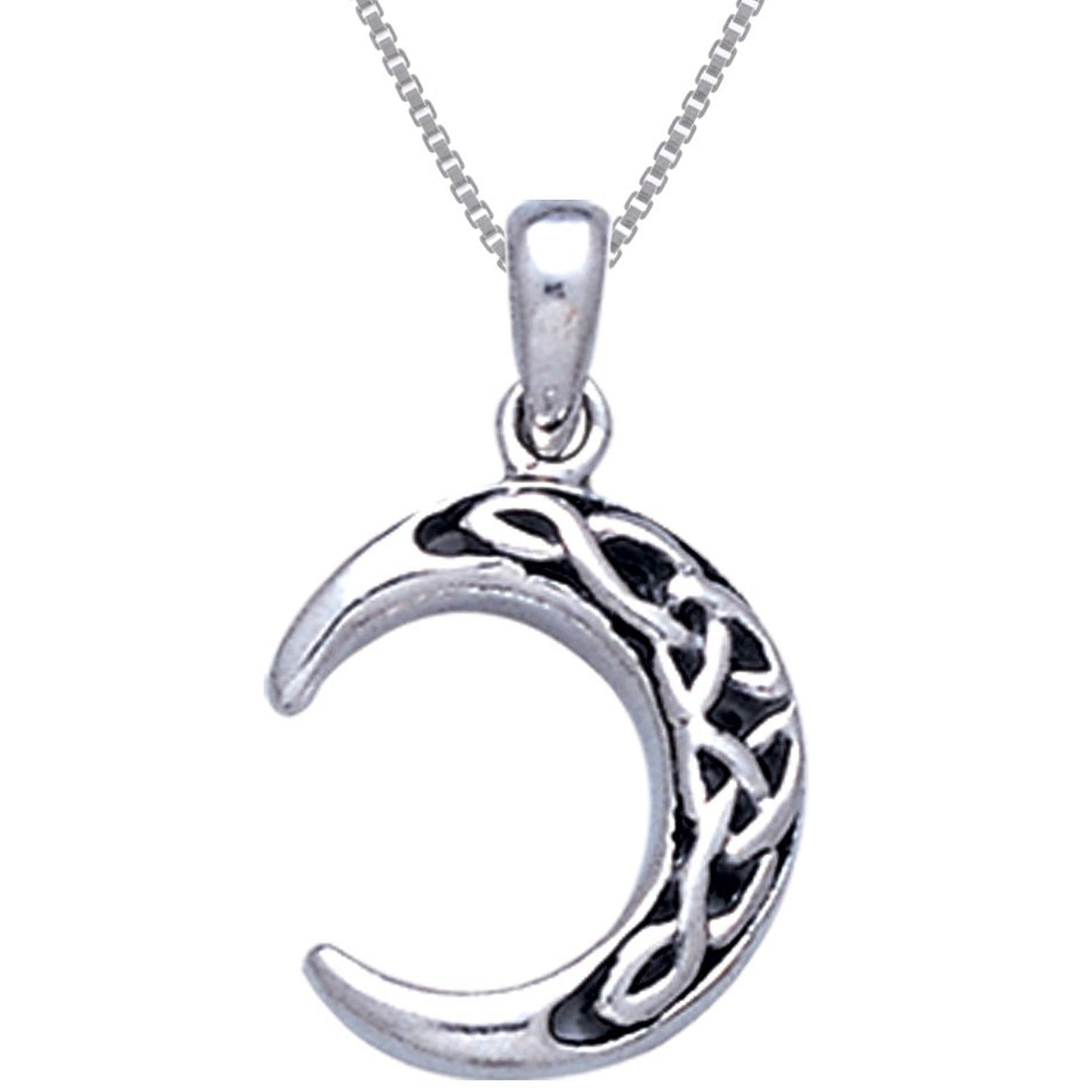 "Sterling Silver Celtic Knot Crescent Moon Pendant with 18"" Box Necklace"