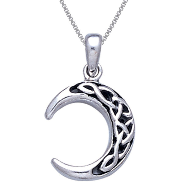 Sterling Silver Celtic Knot Crescent Moon Pendant with 18