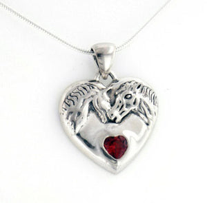 "Genuine Garnet Horse Heart Sterling Silver Pendant, 16"" Snake Chain Necklace - Silver Insanity"