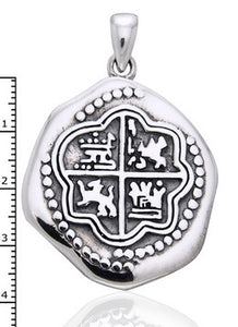 Sterling Silver Pirate Coin Medallion Pendant Necklace - Silver Insanity