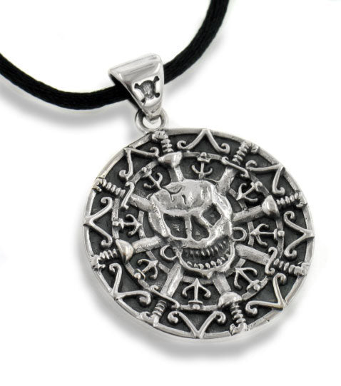Sterling Silver Pirate Skull Medallion Pendant Necklace - Silver Insanity