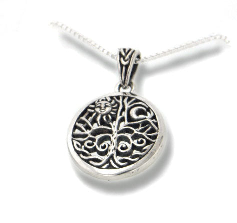 Celtic Tree of Life Art Sterling Silver Pendant & Chain 18