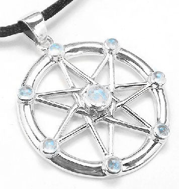 Sterling Silver Elven or Faery Star Septagram Pendant Necklace Rainbow Moonstone