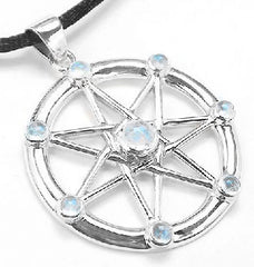 Sterling Silver Elven or Faery Star Septagram Pendant Necklace Rainbow Moonstone - Silver Insanity