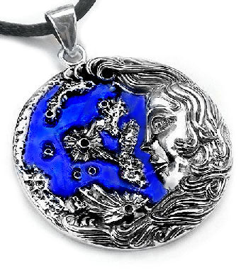 "Sterling Silver Blue Moon Luna Greek Goddess Pendant with 19"" Silk Necklace - Silver Insanity"