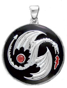 Sterling Silver Garnet Yin-Yang Dragon Pendant Necklace - Silver Insanity