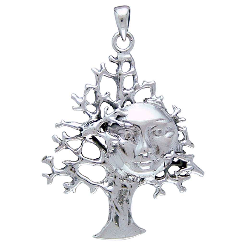 Full Moon in Tree Abstract Sterling Silver Pendant