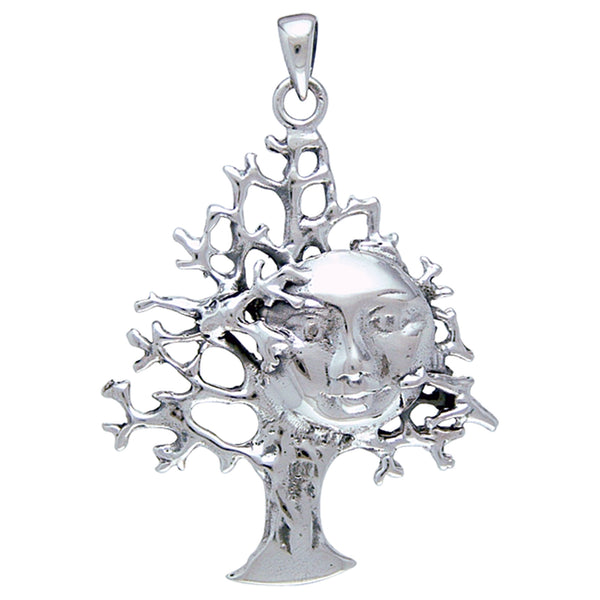 Full Moon in Tree Abstract Sterling Silver Pendant - Silver Insanity