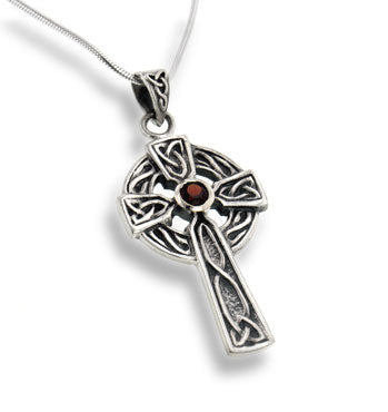 "Large Celtic Knot Sun Cross Pendant with Garnet 18"" Sterling Silver Necklace"