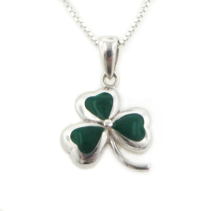 "Green Enameled Irish Shamrock Lucky Clover Sterling Silver Pendant 18"" Necklace"