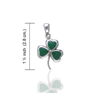 "Green Enameled Irish Shamrock Lucky Clover Sterling Silver Pendant 18"" Necklace - Silver Insanity"