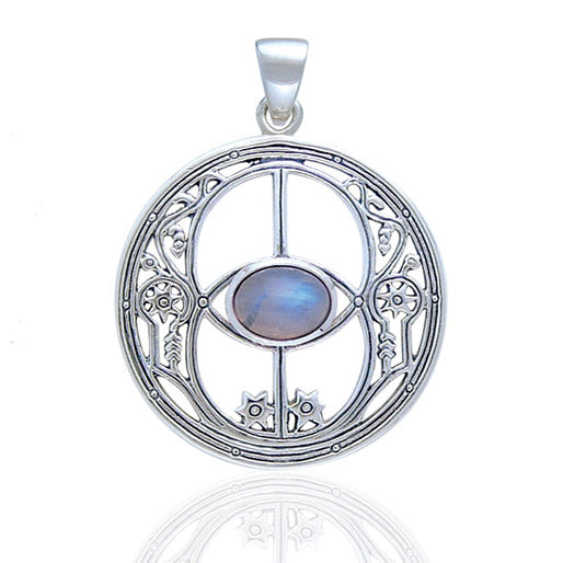 Rainbow Moonstone Chalice Well Sterling Silver Pendant