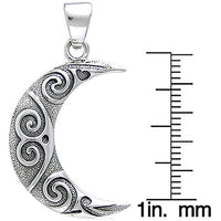 Celtic Spiral Crescent Moon Sterling Silver Pendant - Silver Insanity