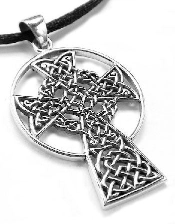 St. Andrew's Sterling Silver Celtic Knot High Cross Pendant Necklace - Silver Insanity