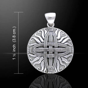 Sterling Silver Sunray Medallion St. Brigid's Celtic Woven Straw Cross Pendant - Silver Insanity