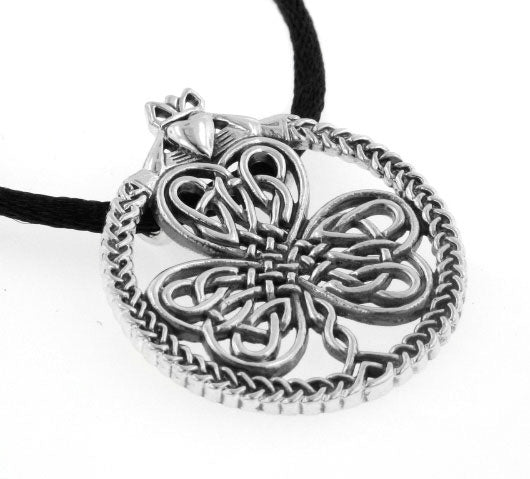 Celtic Knot Irish Shamrock Clover Claddagh Sterling Silver Pendant 19