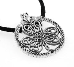"Celtic Knot Irish Shamrock Clover Claddagh Sterling Silver Pendant 19"" Necklace - Silver Insanity"