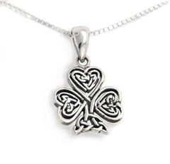 "Celtic Knot Irish Shamrock 3-Leaf Clover Sterling Silver Pendant 18"" Necklace - Silver Insanity"