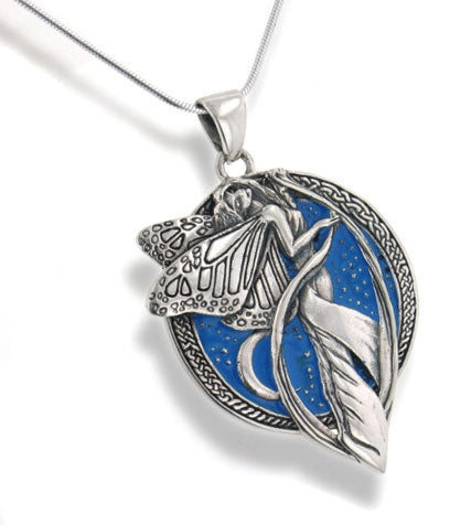 "Sterling Silver Sky Blue Moonlight Fairy Celtic Art Pendant 18"" Snake Necklace"