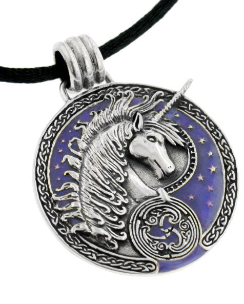 Courtney Davis Sterling Silver Purple Celtic Unicorn Medallion Pendant Necklace - Silver Insanity