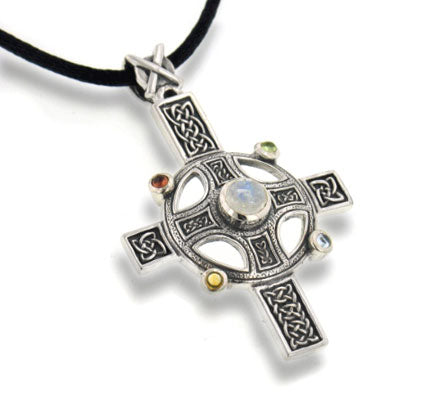 Divine Sunwheel Cross Sterling Silver Pendant Necklace - Silver Insanity