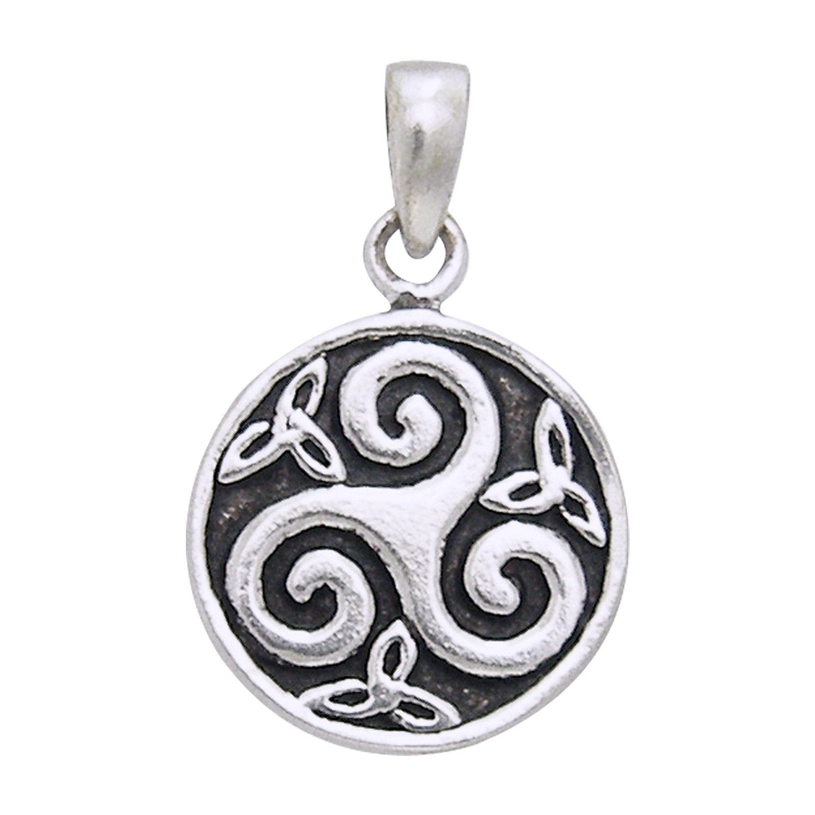 Triskelion Small Round Celtic Knot Triskele Swirl Sterling Silver Pendant - Silver Insanity
