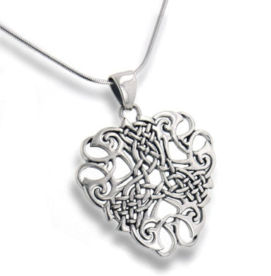 "Thread of Life - Large Celtic Knot Sterling Silver Pendant, 18"" Chain Necklace"