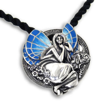 Sterling Silver Dreaming Fairy Art Pendant Necklace - Silver Insanity