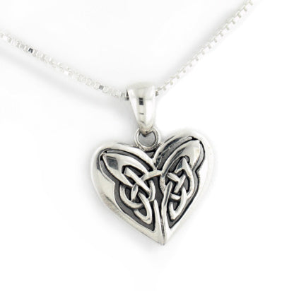 "Celtic Knot Celtic Knot Eternal Heart Sterling Silver Pendant 18"" Chain Necklace"