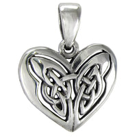 "Celtic Knot Celtic Knot Eternal Heart Sterling Silver Pendant 18"" Chain Necklace - Silver Insanity"