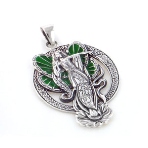 Green Winged Lotus Flower Angel Fairy Faery Sterling Silver Pendant - Silver Insanity