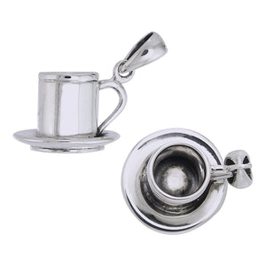 3D Cup of Coffee Tea Espresso Joe Sterling Silver Pendant Charm - Silver Insanity