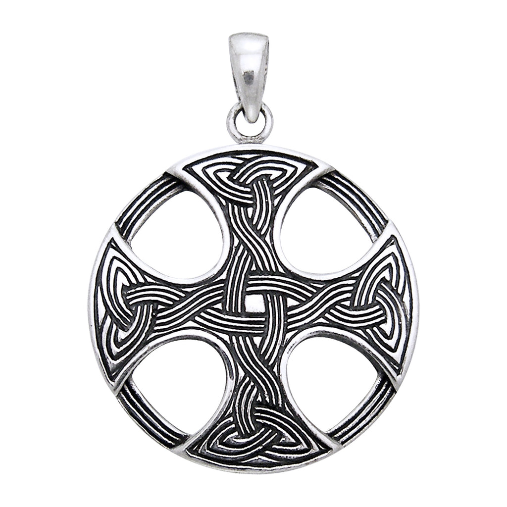 Sterling Silver Round Celtic Sun Knot Cross Pendant Charm
