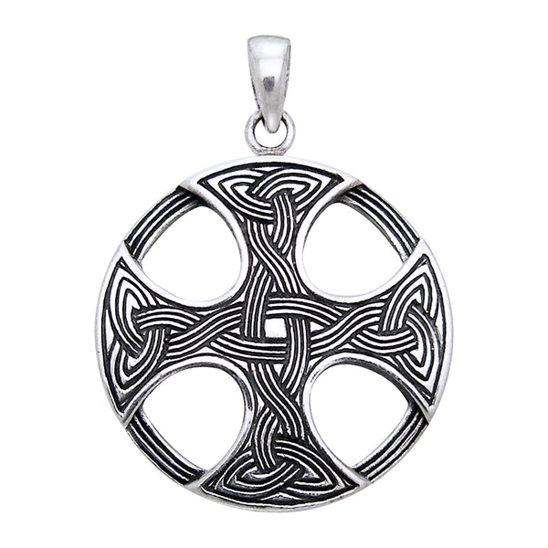 Sterling Silver Round Celtic Sun Knot Cross Pendant Charm - Silver Insanity