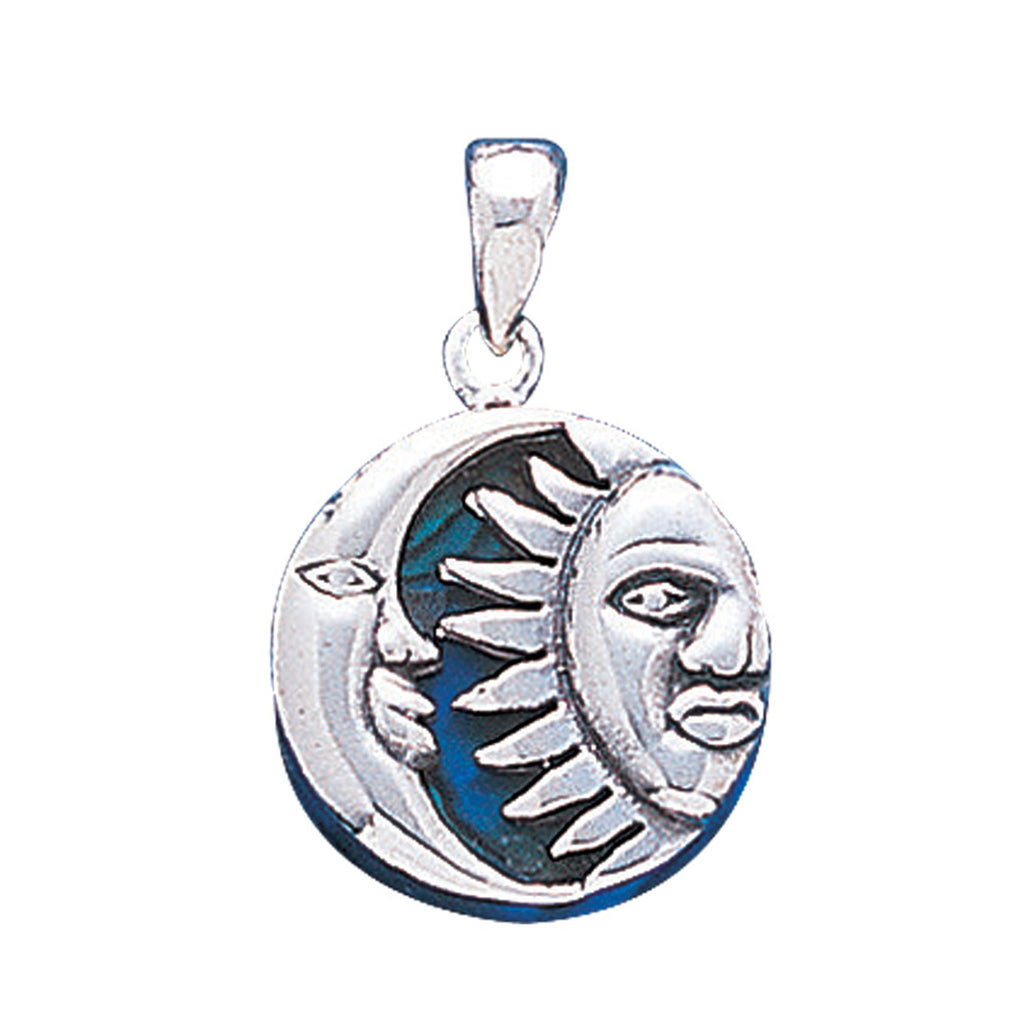 Reversible Blue Paua Shell Sun and Moon Face Sterling Silver Pendant