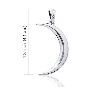Large Crescent Moon - Lunar Magic Sterling Silver Pendant - Silver Insanity