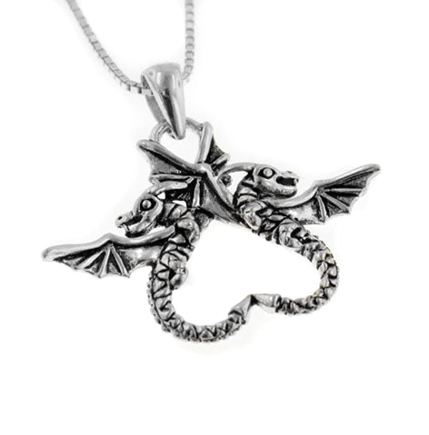 "Dragonheart Sterling Silver Dragon Couple Pendant with 18"" Box Chain Necklace"