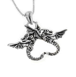"Dragonheart Sterling Silver Dragon Couple Pendant with 18"" Box Chain Necklace - Silver Insanity"
