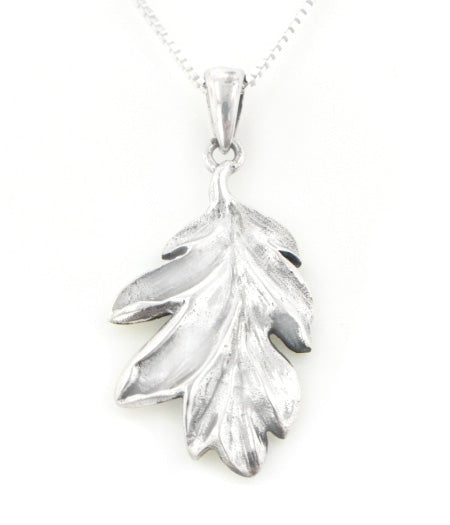 Secrets of the Wood Sterling Silver Oak Leaf Pendant with 18