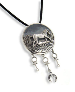 Large Horse Totem Sterling Silver Art Pendant Necklace - Silver Insanity