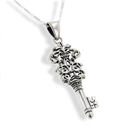 "Victorian Sterling Silver Mystery Key of Knowledge Pendant 20"" Necklace - Silver Insanity"