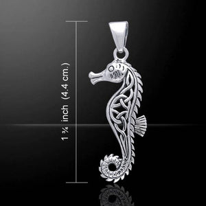 Hippocampus - Poseidon's Steed Seahorse with Celtic Knot Sterling Silver Pendant - Silver Insanity