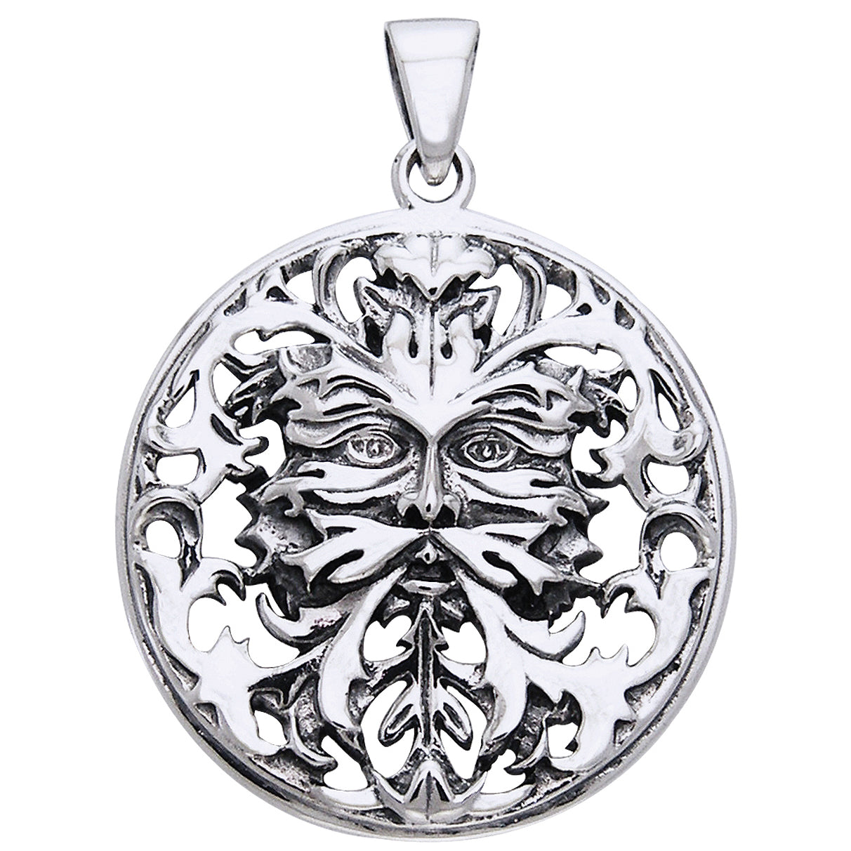 Woodland Spirit - Sterling Silver Mythic Green Man Pendant by Oberon Zell Ravenheart - Silver Insanity