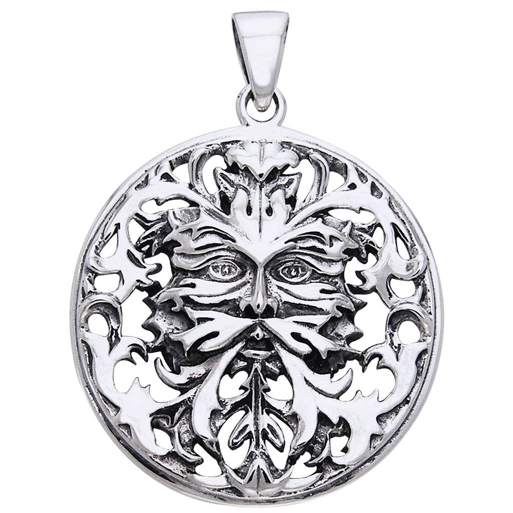 Woodland Spirit - Sterling Silver Mythic Green Man Pendant by Oberon Zell Ravenheart
