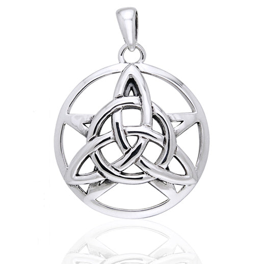 Druids Amulet - Triquetra Knot and Pentacle Sterling Silver Pendant - Silver Insanity