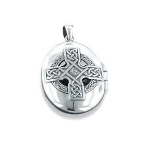 Celtic Ancient Sun Cross Large Oval Locket Pendant in Sterling Silver - Silver Insanity