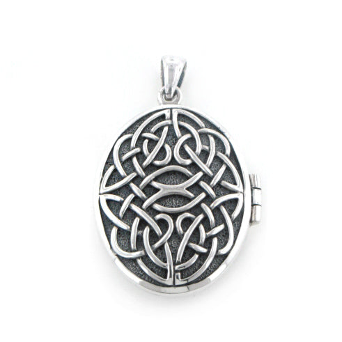 Large Celtic Knot Antiqued Oval Aromatherapy Locket Pendant in Sterling Silver